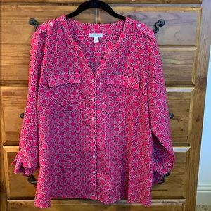 Croft and Barrow Pink and Black top, XL